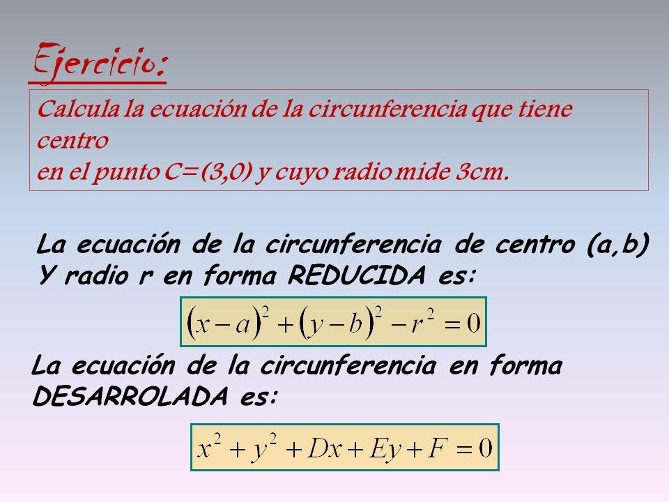 Ejercicio: Calcula la ecuación de la circunferencia que tiene centro en el punto C=(3,0) y cuyo radio mide 3cm. La ecuación de la circunferencia de ce