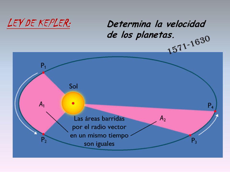 Determina la velocidad de los planetas. LEY DE KEPLER: 1571-1630