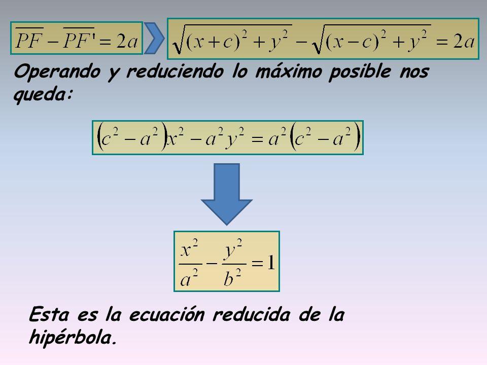 Operando y reduciendo lo máximo posible nos queda: Esta es la ecuación reducida de la hipérbola.