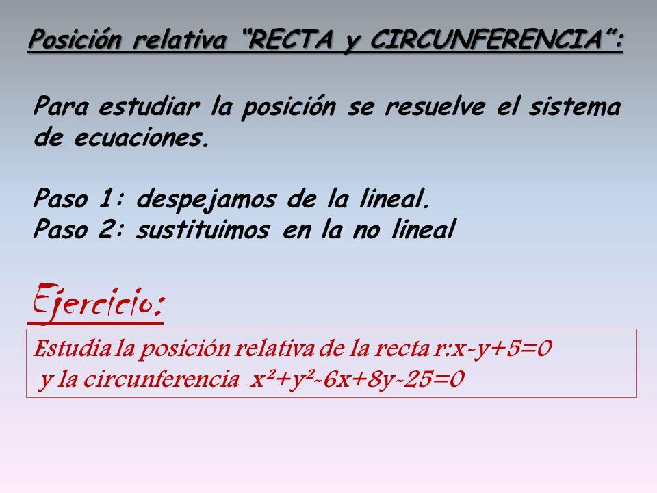 Posición relativa RECTA y CIRCUNFERENCIA: Para estudiar la posición se resuelve el sistema de ecuaciones. Paso 1: despejamos de la lineal. Paso 2: sus