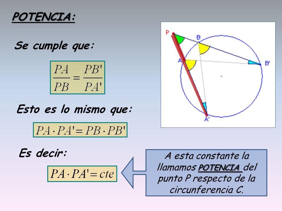 POTENCIA: Se cumple que: Esto es lo mismo que: Es decir: A esta constante la llamamos P PP POTENCIA del punto P respecto de la circunferencia C.