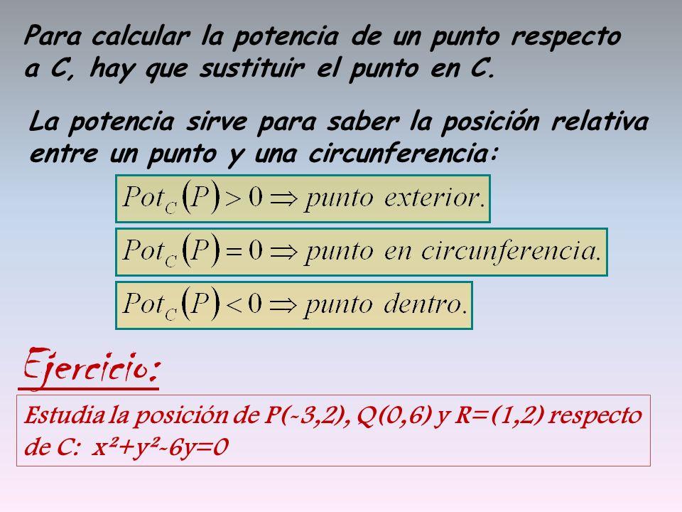 Para calcular la potencia de un punto respecto a C, hay que sustituir el punto en C. La potencia sirve para saber la posición relativa entre un punto