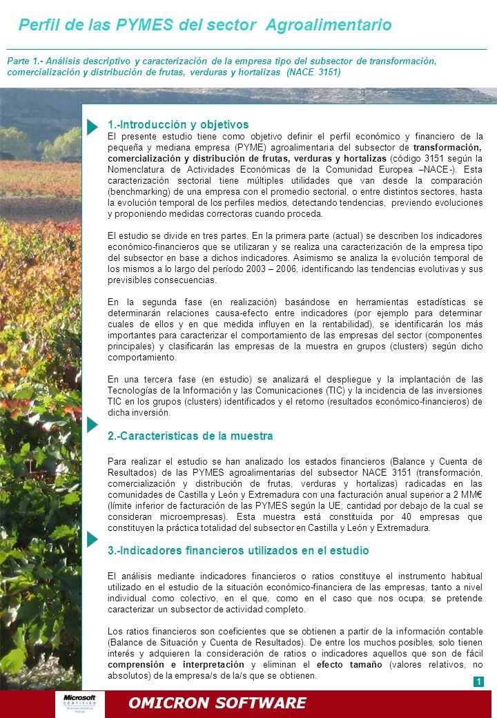 Perfil de las PYMES del sector Agroalimentario Parte 1.- Análisis descriptivo y caracterización de la empresa tipo del subsector de transformación, co
