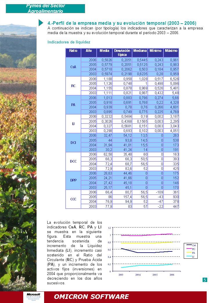 4.-Perfil de la empresa media y su evolución temporal (2003 – 2006) A continuación se indican (por tipología) los indicadores que caracterizan a la em