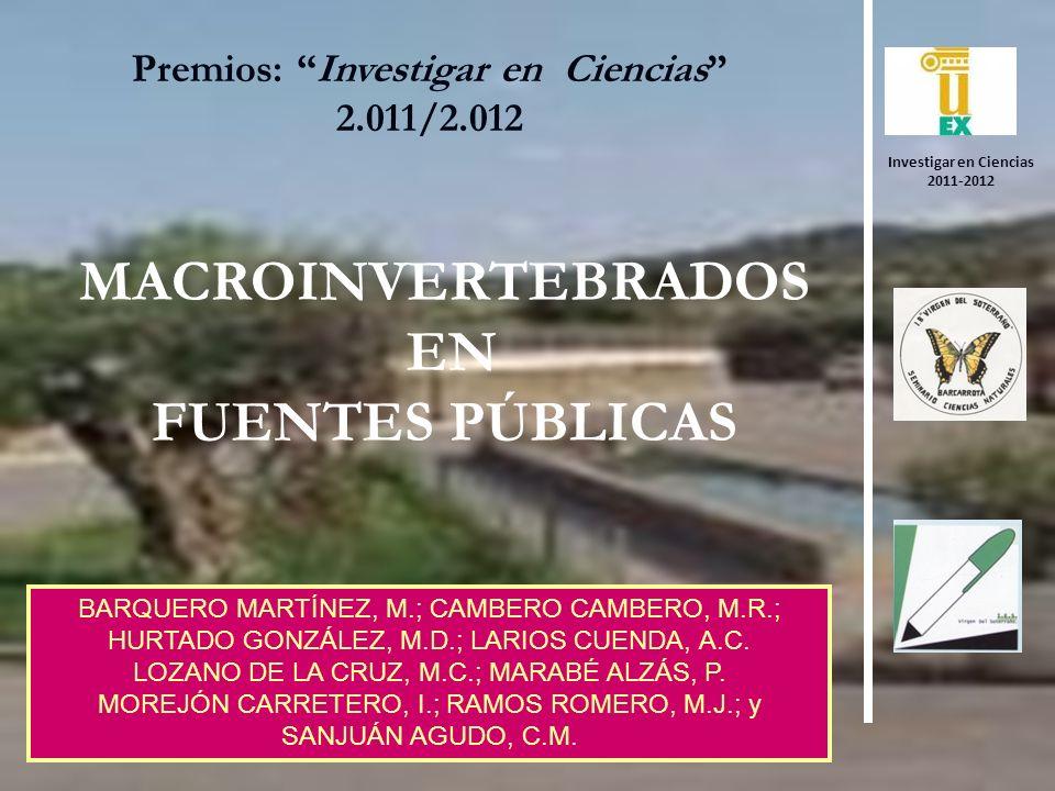 MACROINVERTEBRADOS EN FUENTES PÚBLICAS Premios: Investigar en Ciencias 2.011/2.012 BARQUERO MARTÍNEZ, M.; CAMBERO CAMBERO, M.R.; HURTADO GONZÁLEZ, M.D.; LARIOS CUENDA, A.C.