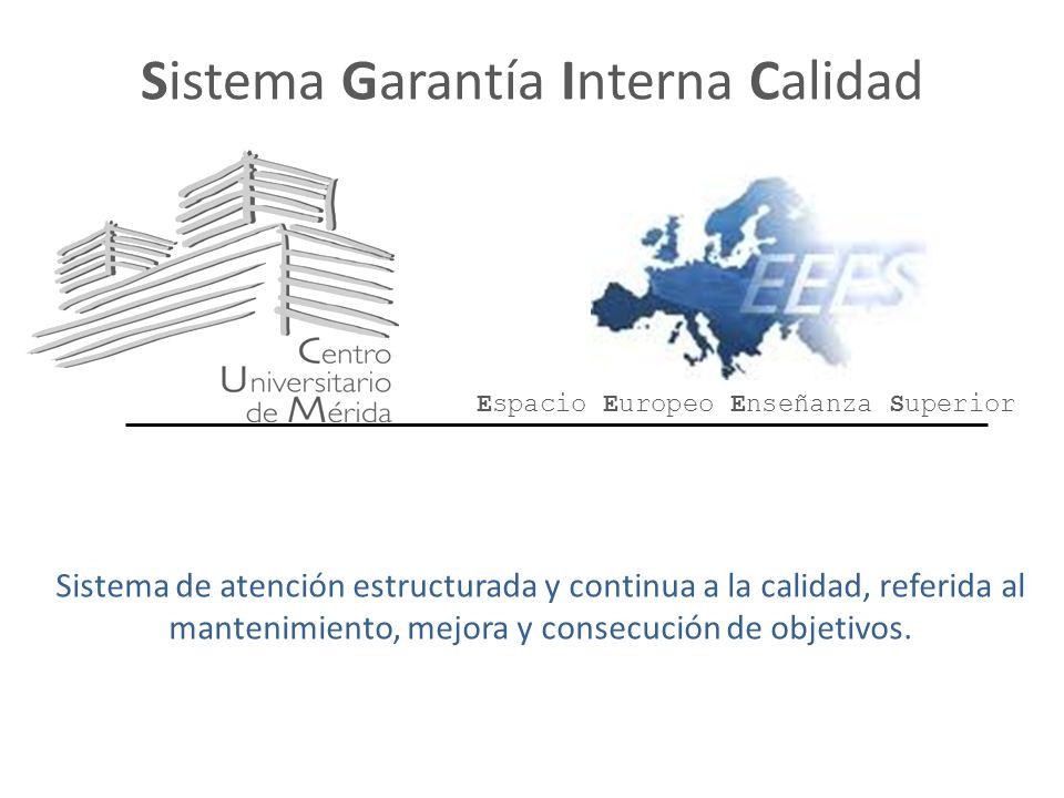 Sistema Garantía Interna Calidad Sistema de atención estructurada y continua a la calidad, referida al mantenimiento, mejora y consecución de objetivos.