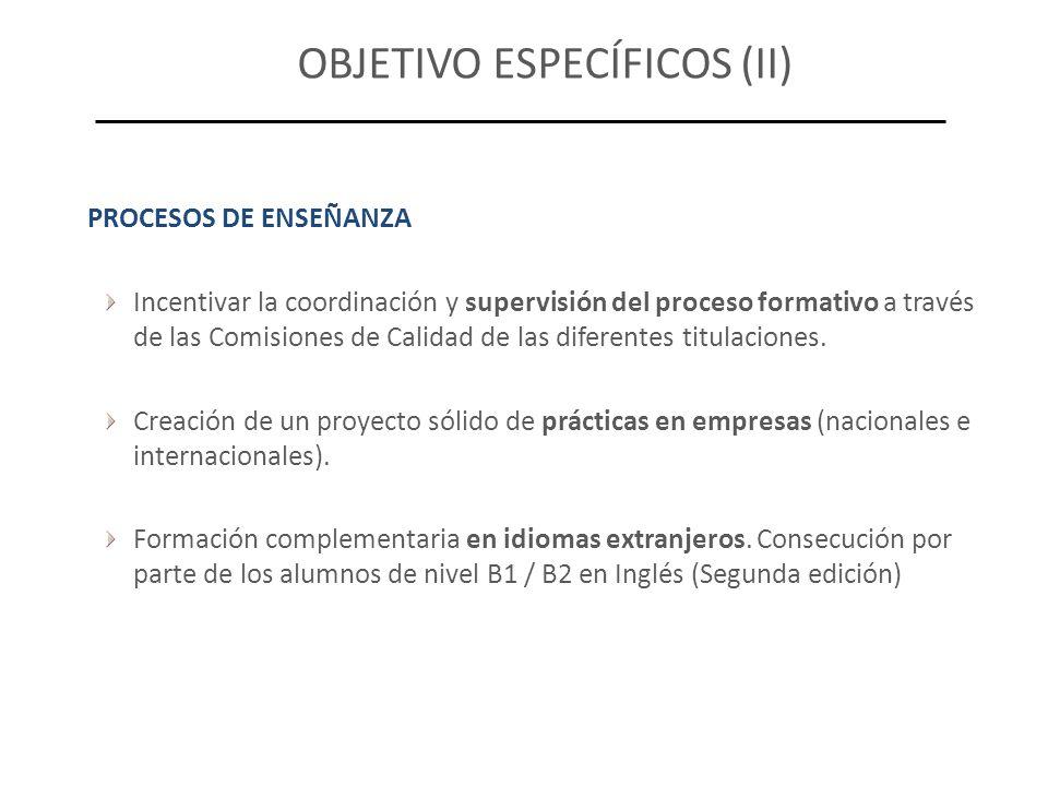 OBJETIVO ESPECÍFICOS (II) PROCESOS DE ENSEÑANZA Incentivar la coordinación y supervisión del proceso formativo a través de las Comisiones de Calidad de las diferentes titulaciones.