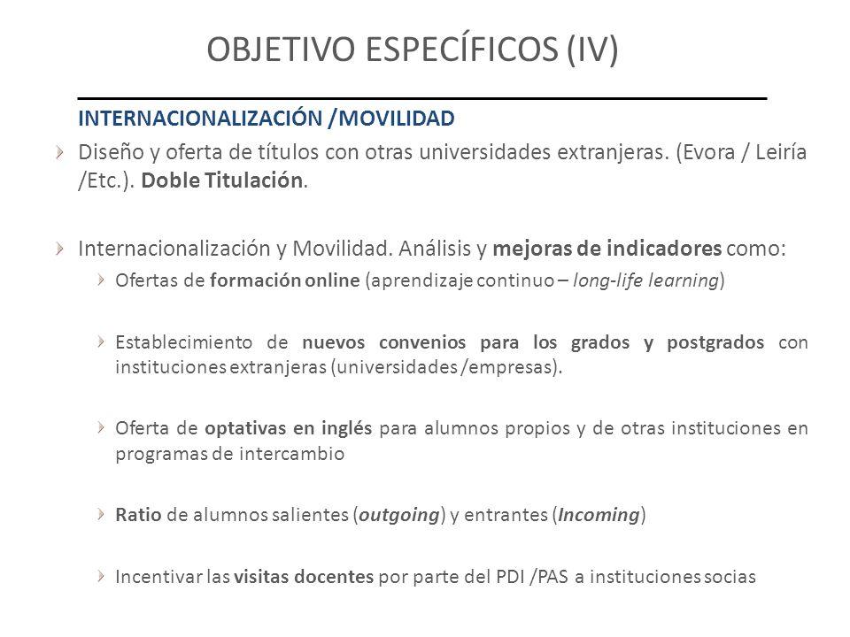 OBJETIVO ESPECÍFICOS (IV) INTERNACIONALIZACIÓN /MOVILIDAD Diseño y oferta de títulos con otras universidades extranjeras. (Evora / Leiría /Etc.). Dobl