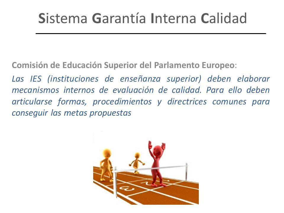 Sistema Garantía Interna Calidad Comisión de Educación Superior del Parlamento Europeo: Las IES (instituciones de enseñanza superior) deben elaborar m