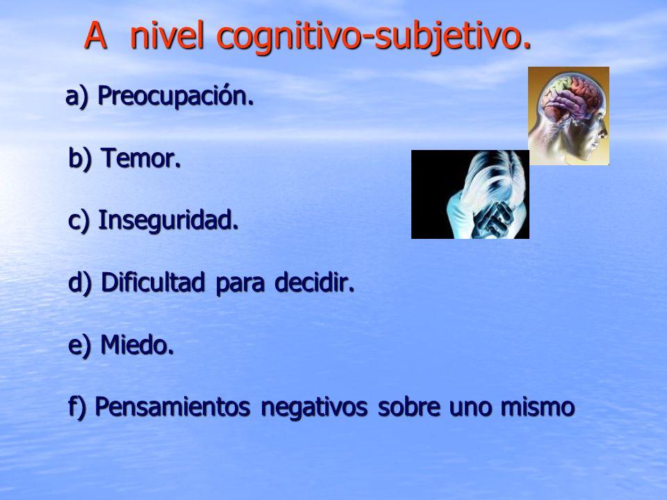 a) Preocupación. b) Temor. c) Inseguridad. d) Dificultad para decidir. e) Miedo. f) Pensamientos negativos sobre uno mismo a) Preocupación. b) Temor.