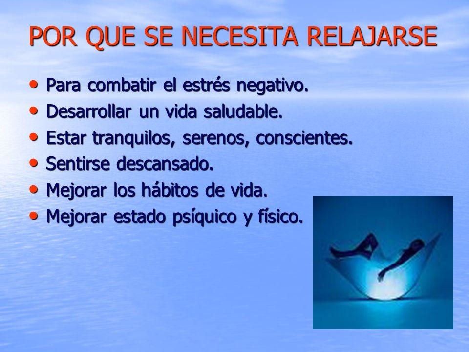 POR QUE SE NECESITA RELAJARSE Para combatir el estrés negativo. Para combatir el estrés negativo. Desarrollar un vida saludable. Desarrollar un vida s