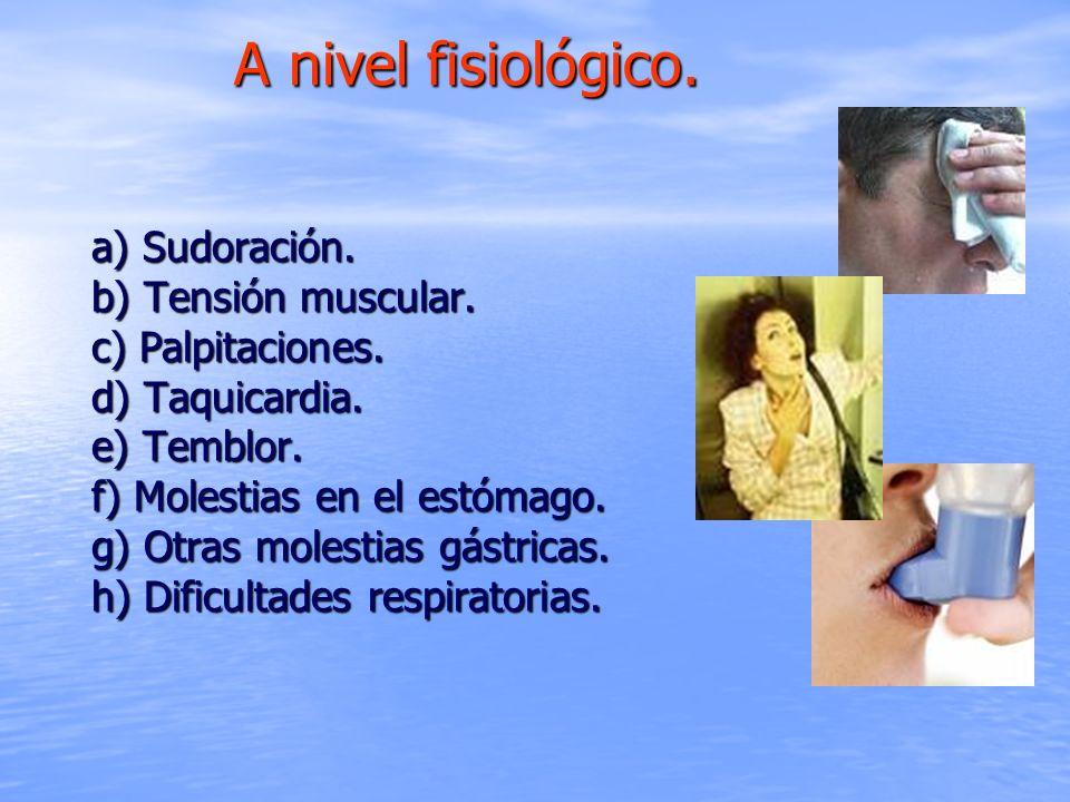 a) Sudoración. b) Tensión muscular. c) Palpitaciones. d) Taquicardia. e) Temblor. f) Molestias en el estómago. g) Otras molestias gástricas. h) Dificu