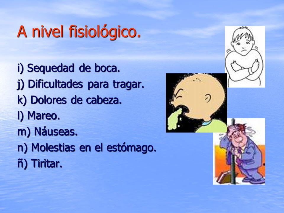 i) Sequedad de boca. j) Dificultades para tragar. k) Dolores de cabeza. l) Mareo. m) Náuseas. n) Molestias en el estómago. ñ) Tiritar.