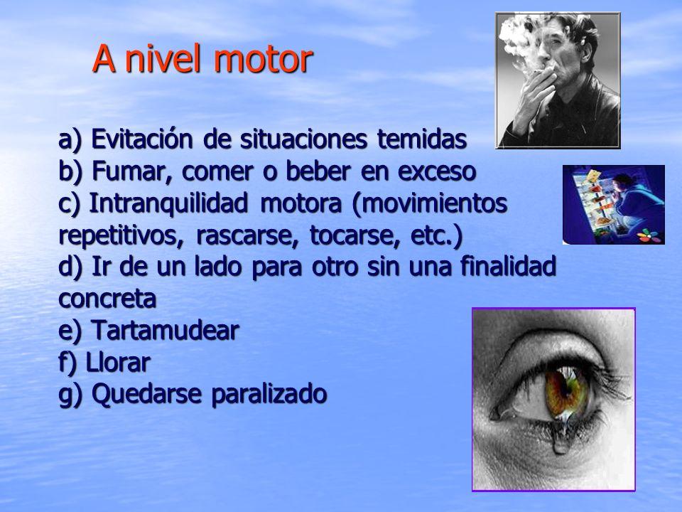 a) Evitación de situaciones temidas b) Fumar, comer o beber en exceso c) Intranquilidad motora (movimientos repetitivos, rascarse, tocarse, etc.) d) I