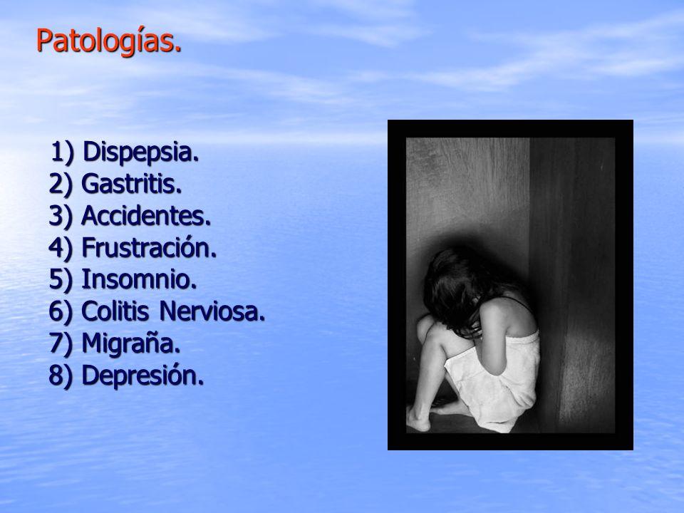 1) Dispepsia. 2) Gastritis. 3) Accidentes. 4) Frustración. 5) Insomnio. 6) Colitis Nerviosa. 7) Migraña. 8) Depresión. 1) Dispepsia. 2) Gastritis. 3)