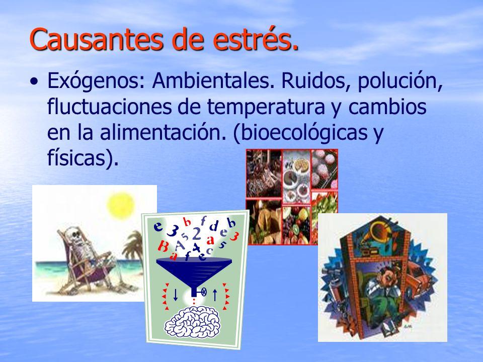 Exógenos: Ambientales. Ruidos, polución, fluctuaciones de temperatura y cambios en la alimentación. (bioecológicas y físicas). Causantes de estrés.