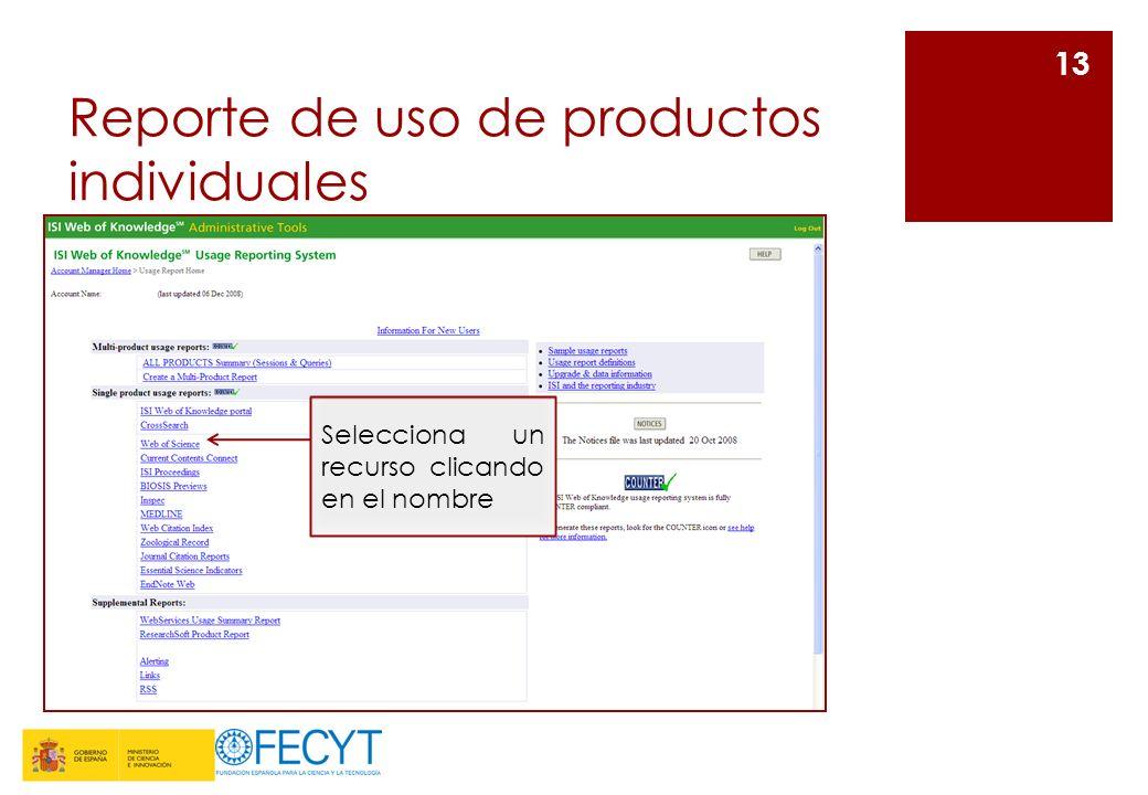 Reporte de uso de productos individuales 13 Selecciona un recurso clicando en el nombre