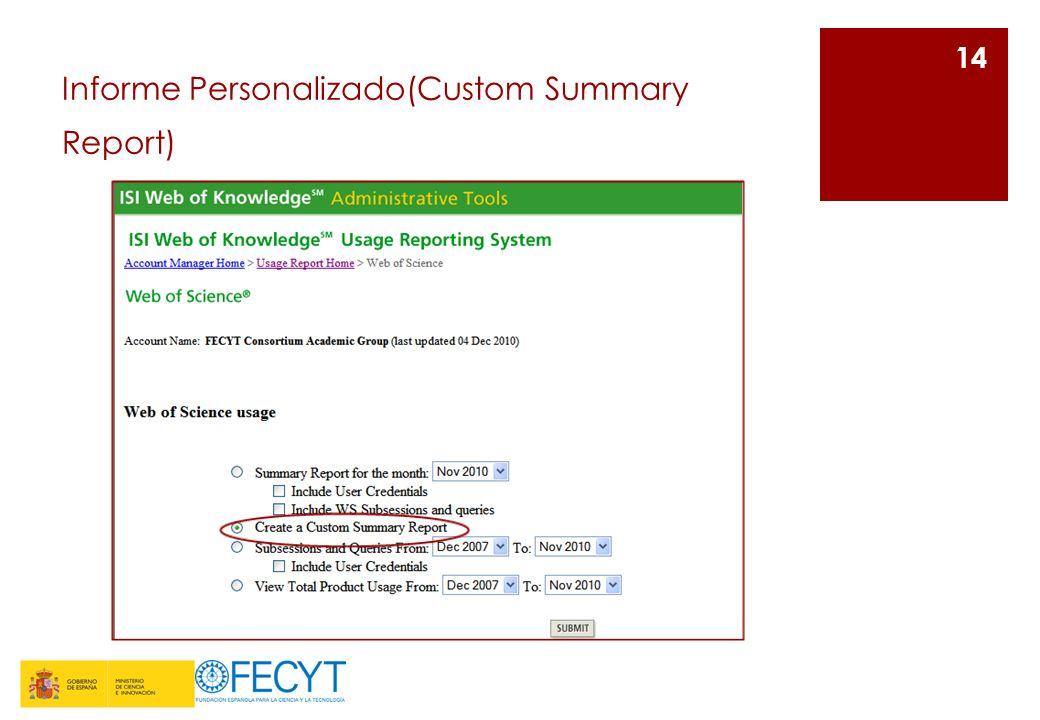Informe Personalizado(Custom Summary Report) 14