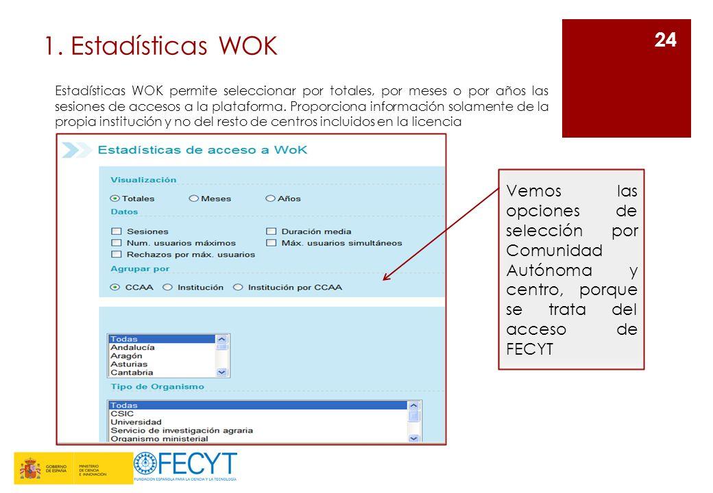 1. Estadísticas WOK 24 Estadísticas WOK permite seleccionar por totales, por meses o por años las sesiones de accesos a la plataforma. Proporciona inf