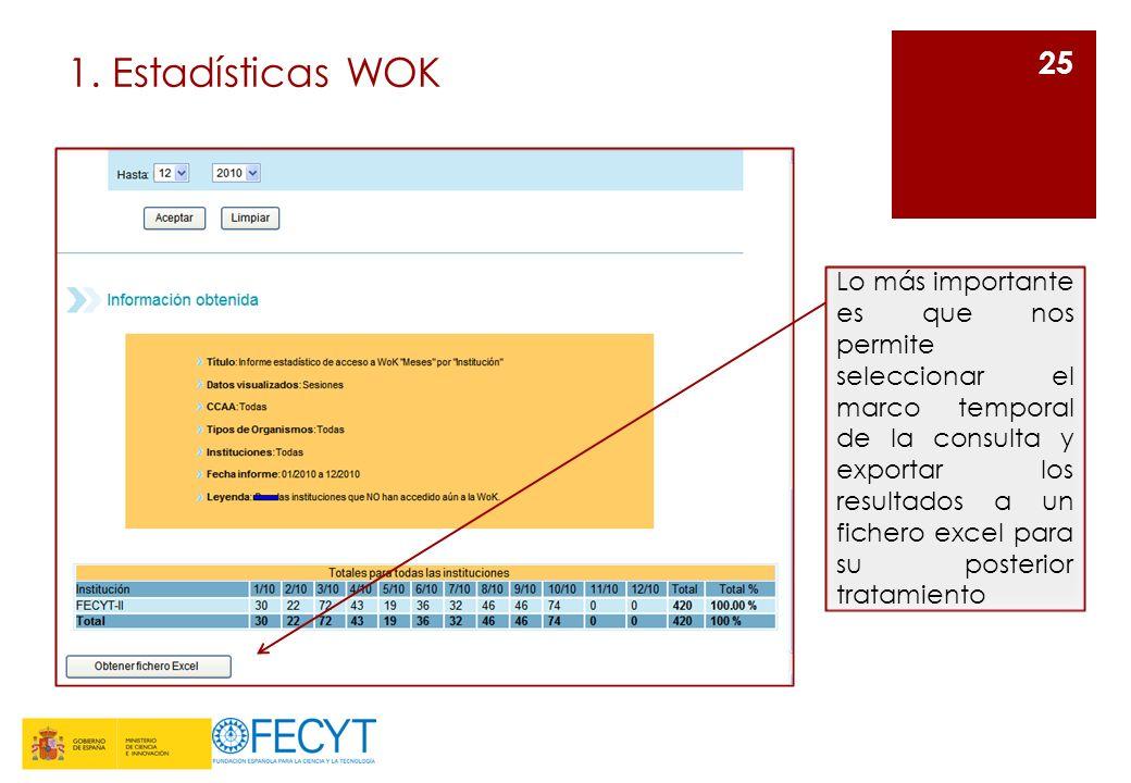 1. Estadísticas WOK 25 Lo más importante es que nos permite seleccionar el marco temporal de la consulta y exportar los resultados a un fichero excel