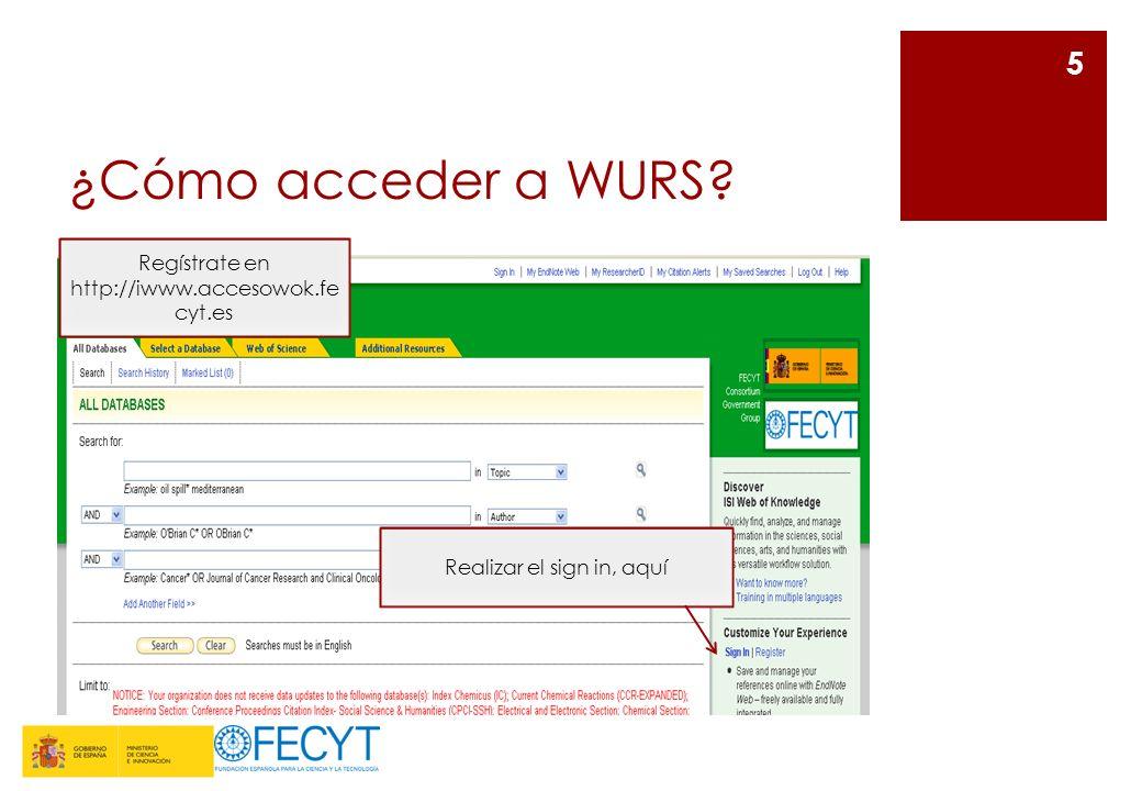 ¿Cómo acceder a WURS? 5 Realizar el sign in, aquí Regístrate en http://iwww.accesowok.fe cyt.es