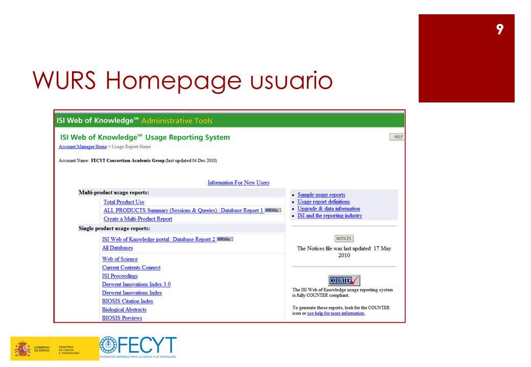 WURS Homepage usuario 9