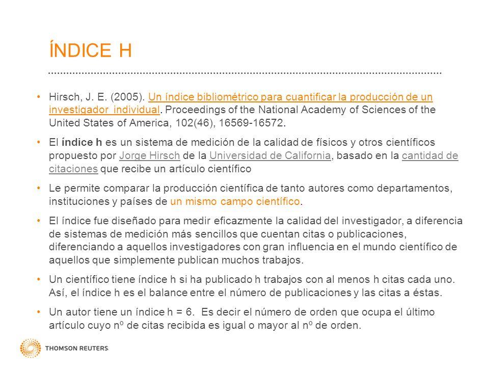 ÍNDICE H Hirsch, J. E. (2005). Un índice bibliométrico para cuantificar la producción de un investigador individual. Proceedings of the National Acade