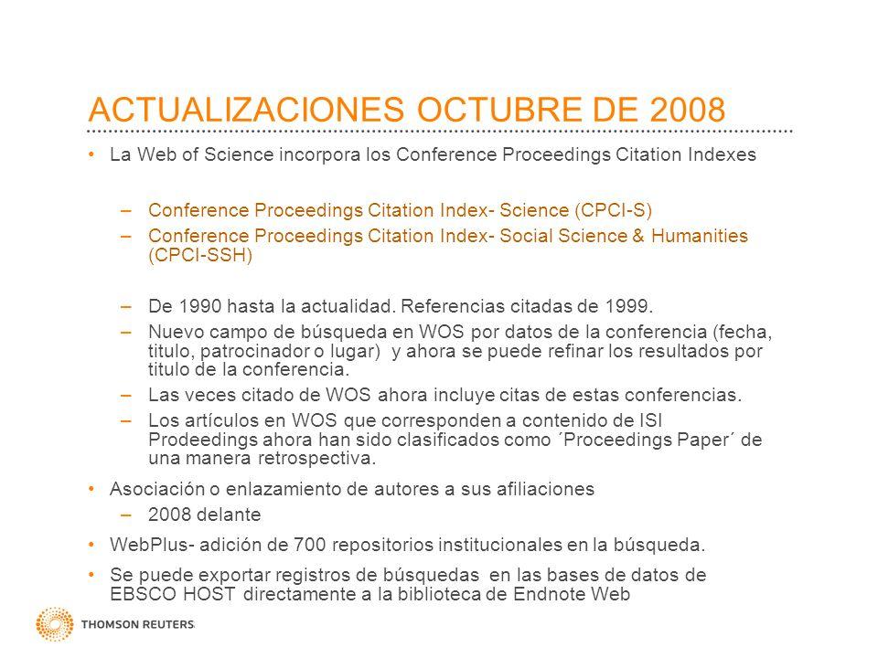 ACTUALIZACIONES FEBRERO DE 2008 Se guarda sus pasos en Refinar y Analizar en su historial.