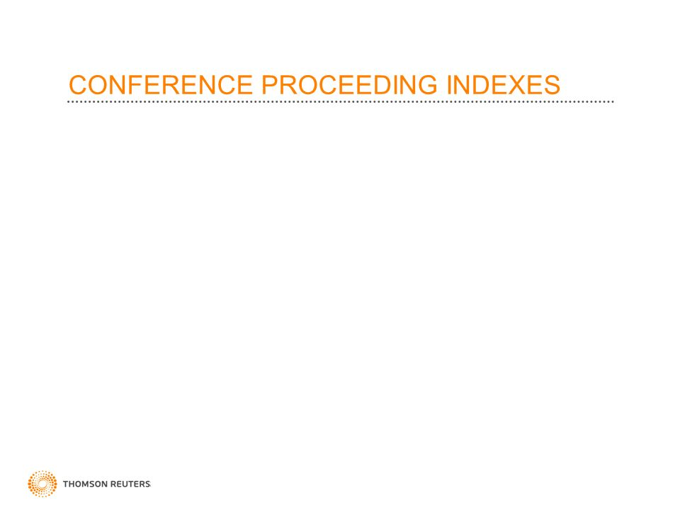 CONFERENCE PROCEEDING INDEXES