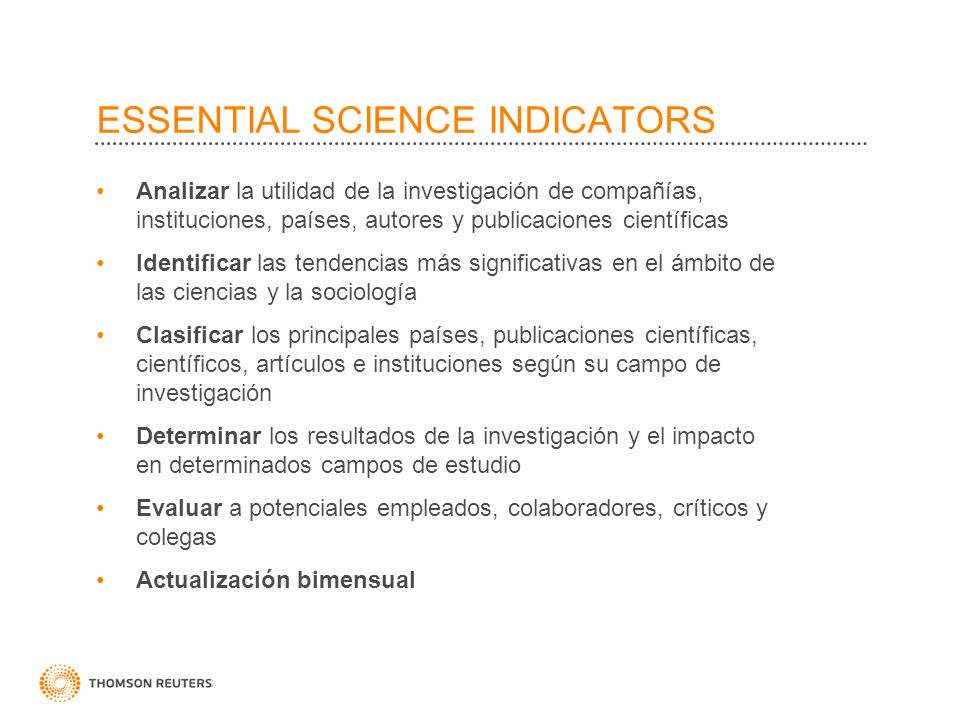 Analizar la utilidad de la investigación de compañías, instituciones, países, autores y publicaciones científicas Identificar las tendencias más signi