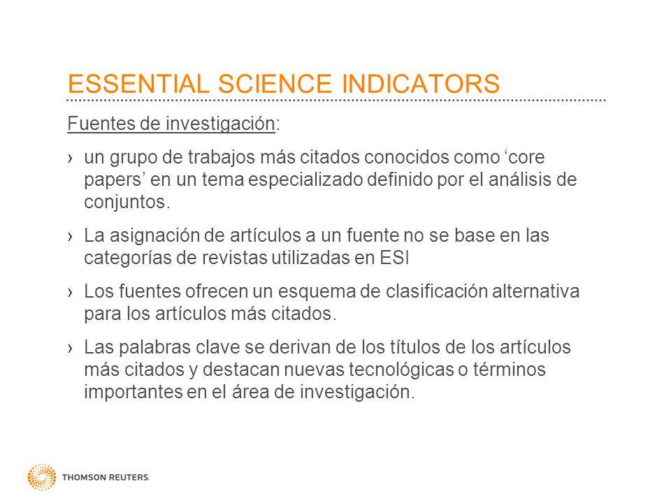 ESSENTIAL SCIENCE INDICATORS Fuentes de investigación: un grupo de trabajos más citados conocidos como core papers en un tema especializado definido p