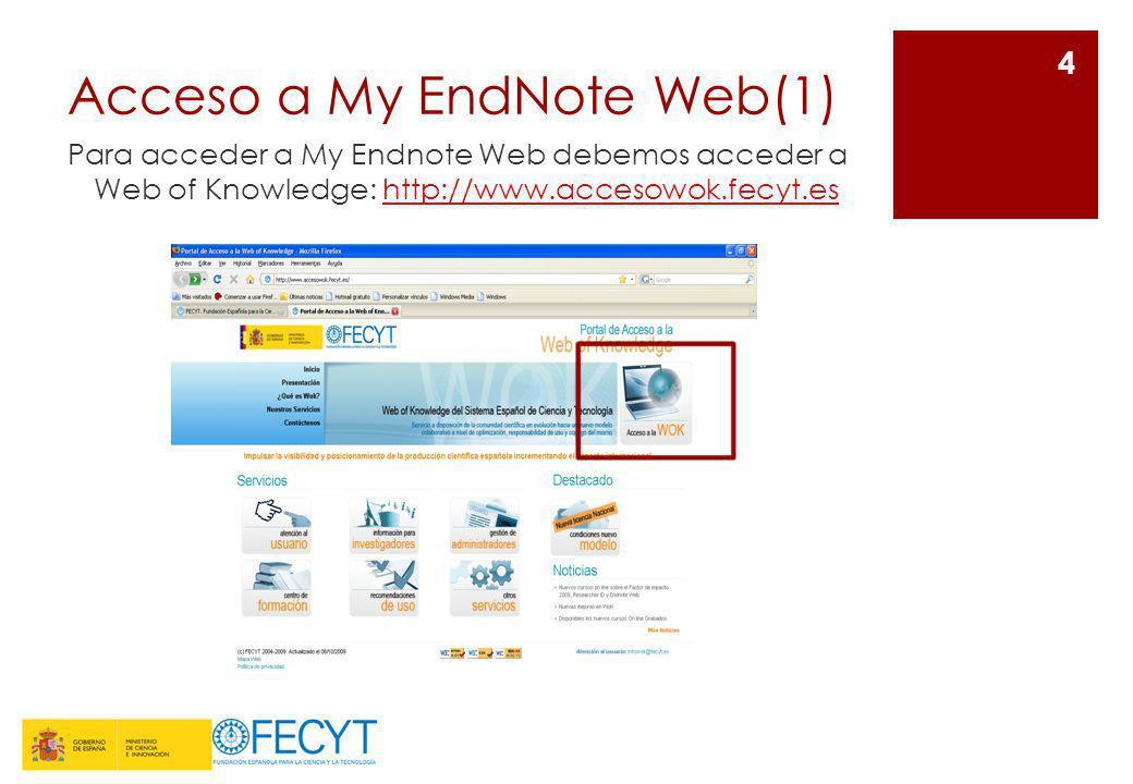 Acceso a My EndNote Web(1) Para acceder a My Endnote Web debemos acceder a Web of Knowledge: http://www.accesowok.fecyt.eshttp://www.accesowok.fecyt.e
