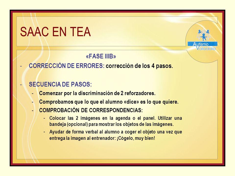 SAAC EN TEA «FASE IIIB» - CORRECCIÓN DE ERRORES: corrección de los 4 pasos.