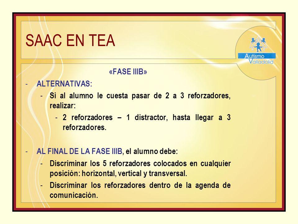 SAAC EN TEA «FASE IIIB» - ALTERNATIVAS: - Si al alumno le cuesta pasar de 2 a 3 reforzadores, realizar: - 2 reforzadores – 1 distractor, hasta llegar a 3 reforzadores.