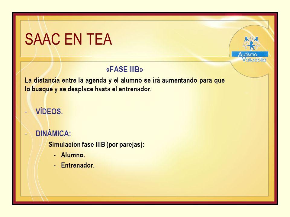 SAAC EN TEA «FASE IIIB» La distancia entre la agenda y el alumno se irá aumentando para que lo busque y se desplace hasta el entrenador.