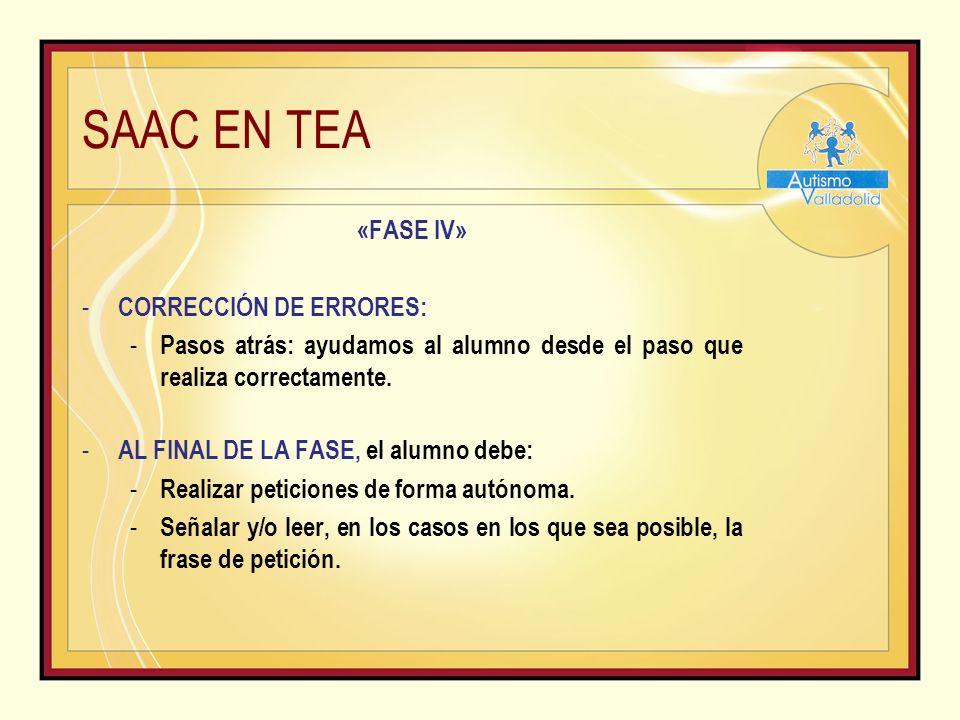 SAAC EN TEA «FASE IV» - CORRECCIÓN DE ERRORES: - Pasos atrás: ayudamos al alumno desde el paso que realiza correctamente.