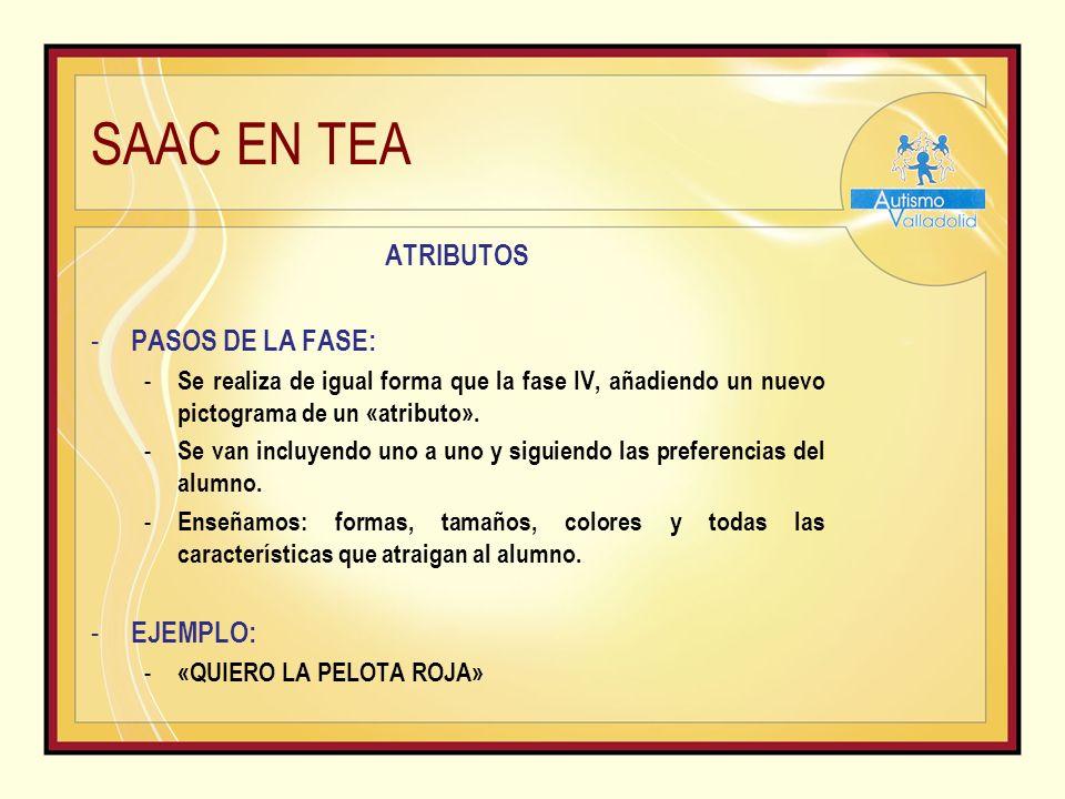 SAAC EN TEA ATRIBUTOS - PASOS DE LA FASE: - Se realiza de igual forma que la fase IV, añadiendo un nuevo pictograma de un «atributo».