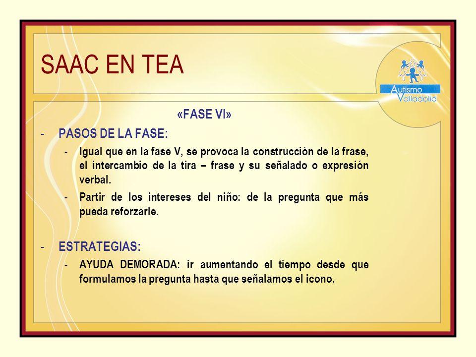 SAAC EN TEA «FASE VI» - PASOS DE LA FASE: - Igual que en la fase V, se provoca la construcción de la frase, el intercambio de la tira – frase y su señalado o expresión verbal.