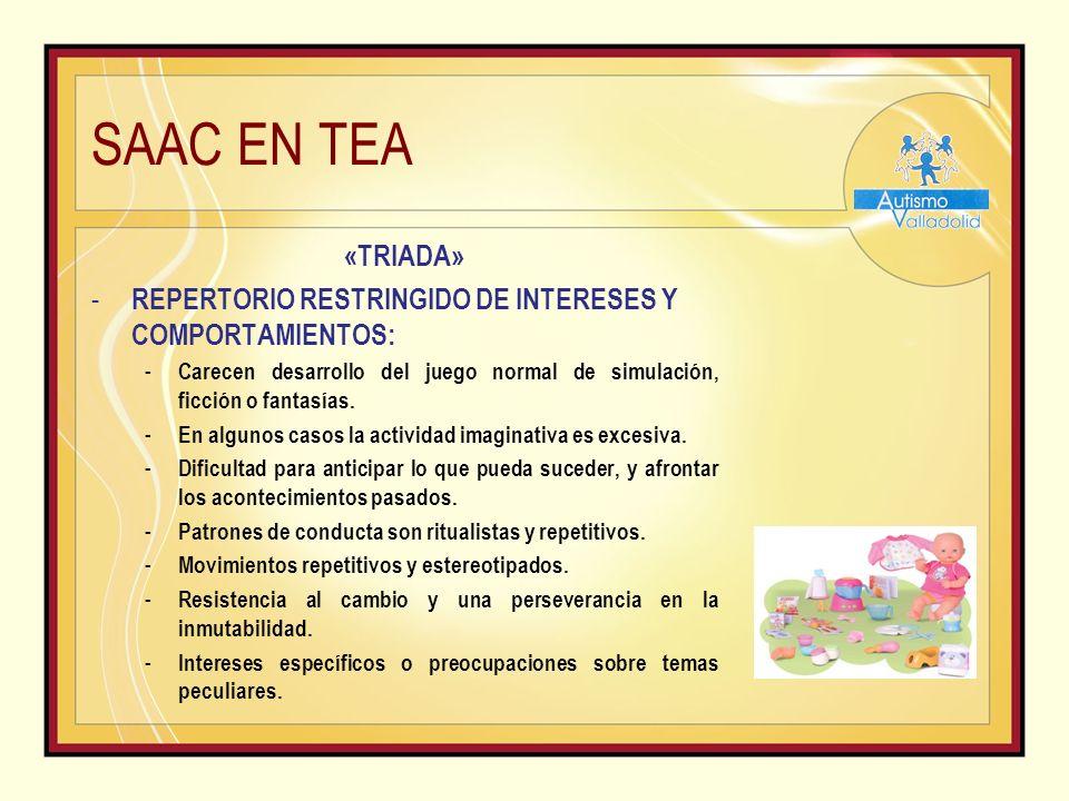 SAAC EN TEA «TRIADA» - REPERTORIO RESTRINGIDO DE INTERESES Y COMPORTAMIENTOS: - Carecen desarrollo del juego normal de simulación, ficción o fantasías.