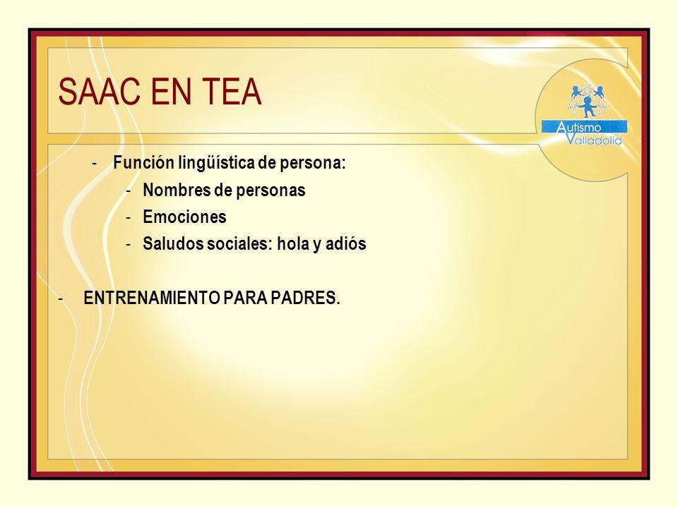 SAAC EN TEA - Función lingüística de persona: - Nombres de personas - Emociones - Saludos sociales: hola y adiós - ENTRENAMIENTO PARA PADRES.