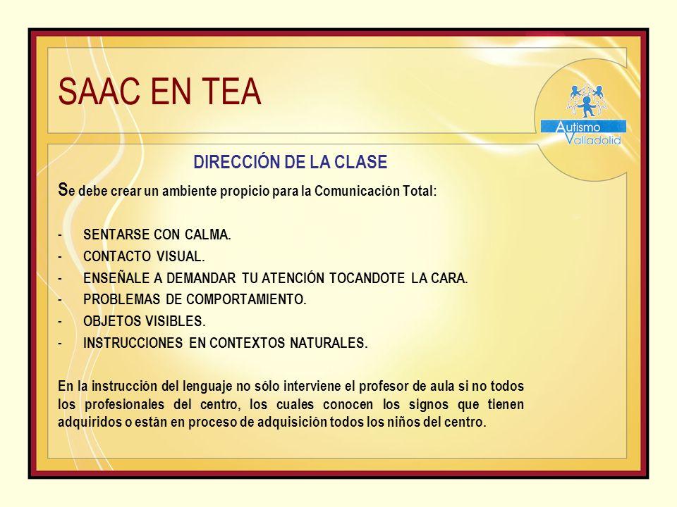 SAAC EN TEA DIRECCIÓN DE LA CLASE S e debe crear un ambiente propicio para la Comunicación Total: - SENTARSE CON CALMA.