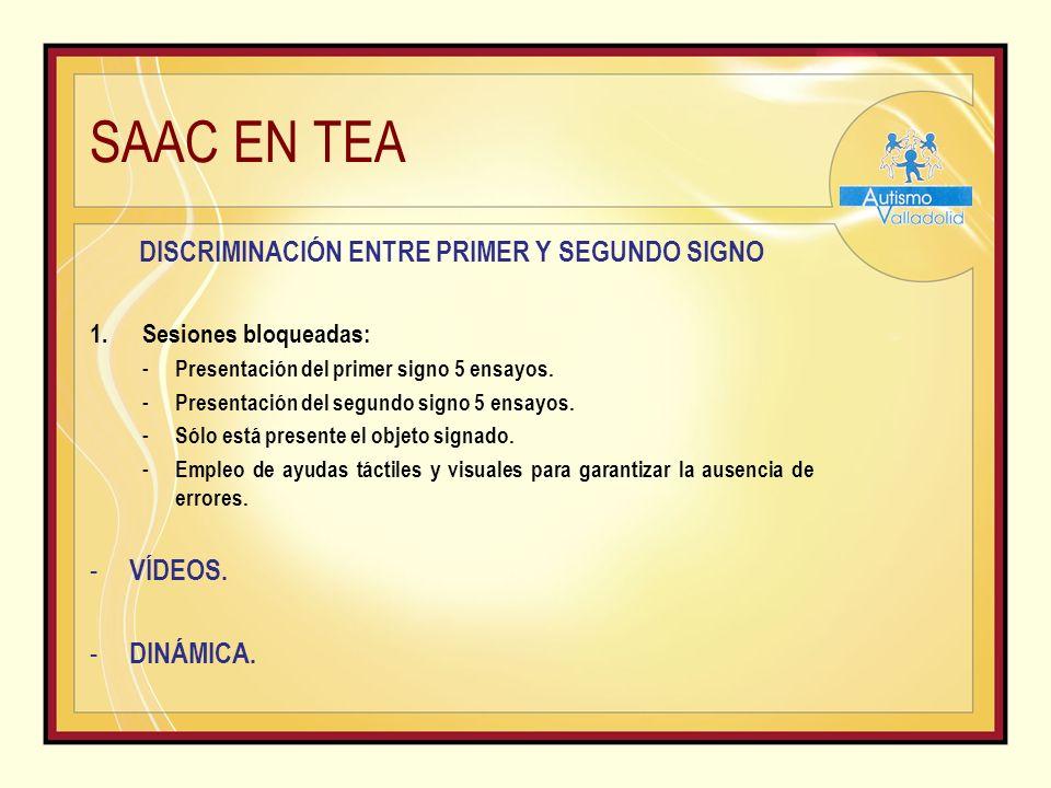 SAAC EN TEA DISCRIMINACIÓN ENTRE PRIMER Y SEGUNDO SIGNO 1.Sesiones bloqueadas: - Presentación del primer signo 5 ensayos.