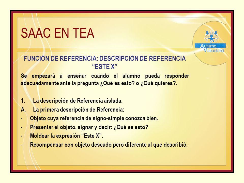 SAAC EN TEA FUNCIÓN DE REFERENCIA: DESCRIPCIÓN DE REFERENCIA ESTE X Se empezará a enseñar cuando el alumno pueda responder adecuadamente ante la pregunta ¿Qué es esto.