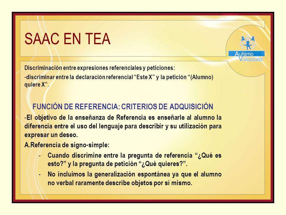 SAAC EN TEA Discriminación entre expresiones referenciales y peticiones: - discriminar entre la declaración referencial Este X y la petición (Alumno) quiere X.