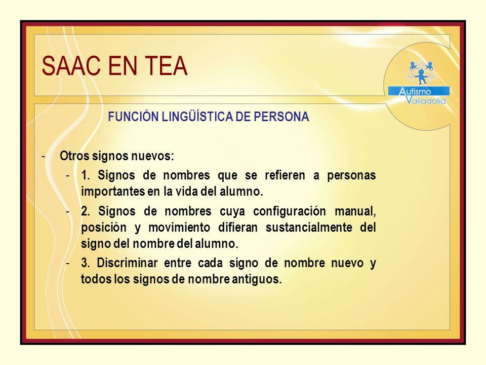 SAAC EN TEA FUNCIÓN LINGÜÍSTICA DE PERSONA - Otros signos nuevos: - 1.