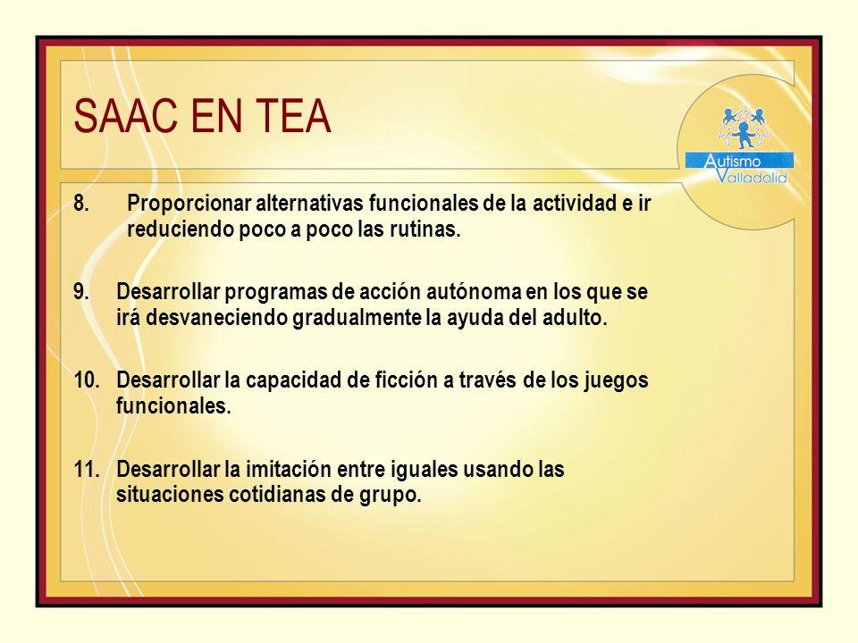 SAAC EN TEA 8.Proporcionar alternativas funcionales de la actividad e ir reduciendo poco a poco las rutinas.