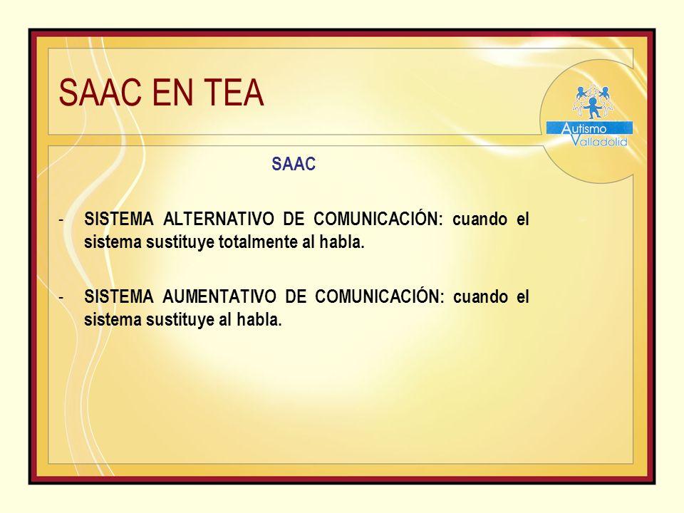 SAAC EN TEA SAAC - SISTEMA ALTERNATIVO DE COMUNICACIÓN: cuando el sistema sustituye totalmente al habla.