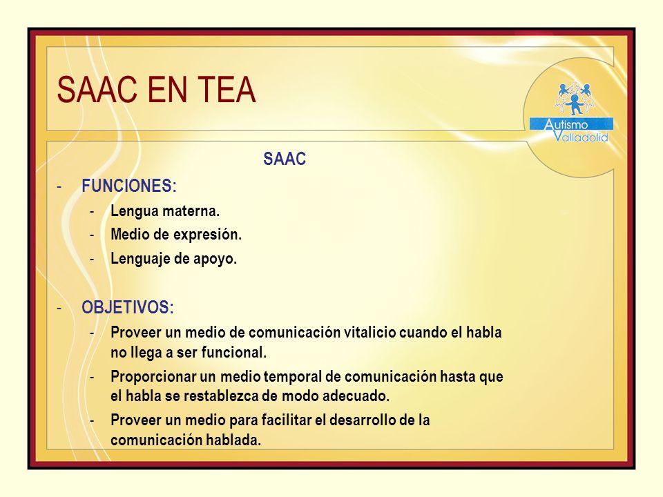 SAAC EN TEA SAAC - FUNCIONES: - Lengua materna.- Medio de expresión.