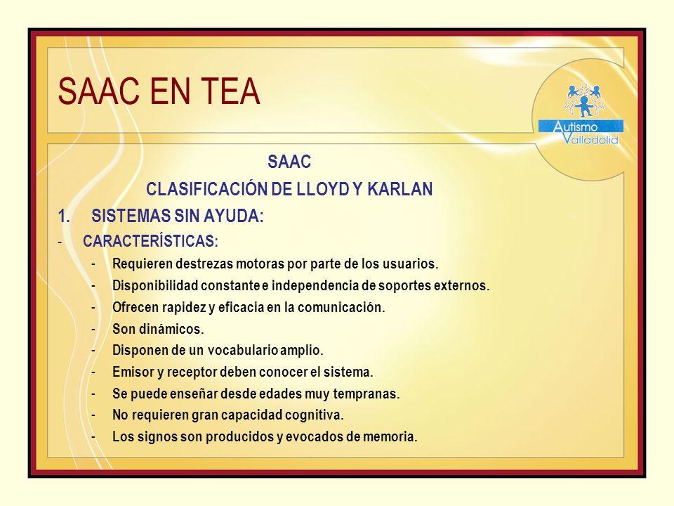 SAAC EN TEA SAAC CLASIFICACIÓN DE LLOYD Y KARLAN 1.SISTEMAS SIN AYUDA: - CARACTERÍSTICAS: - Requieren destrezas motoras por parte de los usuarios.