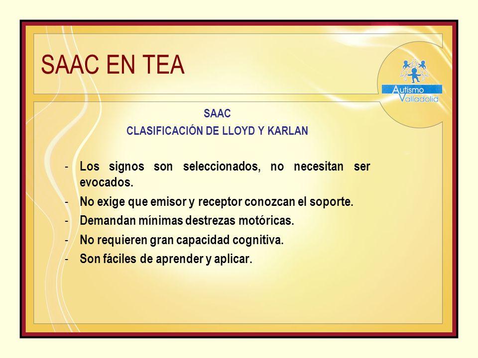 SAAC EN TEA SAAC CLASIFICACIÓN DE LLOYD Y KARLAN - Los signos son seleccionados, no necesitan ser evocados.